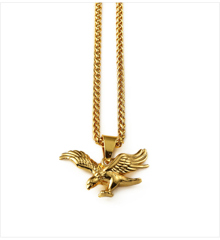 Fashion Jewelry Gold Eagle Bird Pendant Necklace Gold Planted