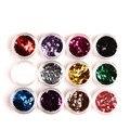 12 Цветов/Комплект Акриловые 3D Ромб Блеск Алмазный Блестками Порошок Ногтей Украшения Блеск голографическая silisponge Nail Art