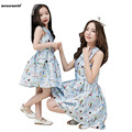 WEONEWORLD Mother Daughter Dresses 2017 Summer Print Family Matching Clothes Mom Daughter Dress Girl Princess Dress