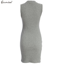 Elegant Gray Sleeveless Knitted Casual Dress for Women