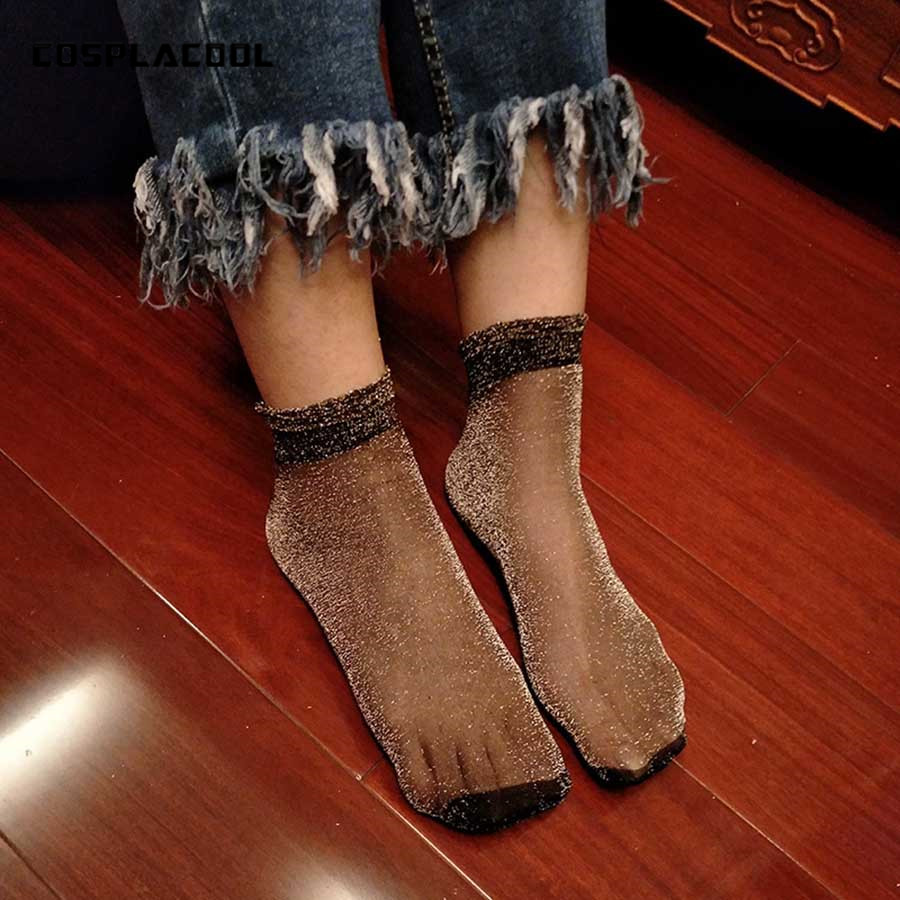 12 Colors,New Summer Women Ultrathin Transparent   Socks   Glitter Crystal Glass Silk Meias Beautiful Lace Shiny Elastic Short   Socks