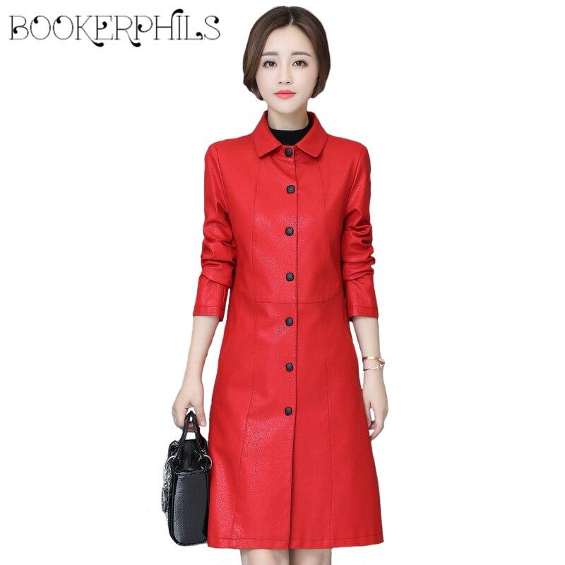 e1bcb604f50f8 2018 High-end Spring Autumn Womens Leather Jacket 5XL Plus Size Sheepskin Coat  Female Slim PU Faux ...