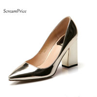 Pointed Toe Thick High Heel Woman Lazy Pumps Fashion Shallow Dress High Heel Shoes Spring Autumn