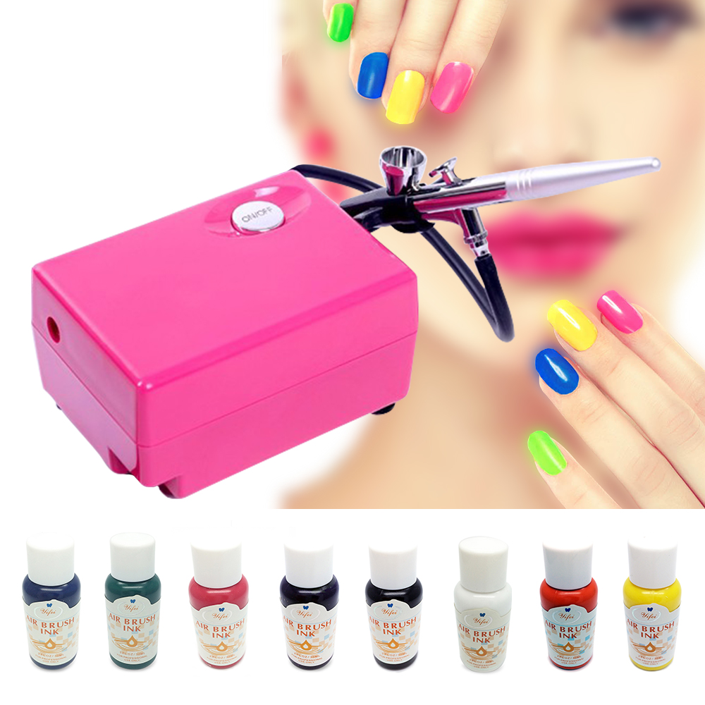 Pink Airbrush Compressor Kit For Nail Beauty Salon Device Air brush Nail Art Set with 8 Bottles Nail Colors 3d 12 candy colors glass fragments shape nail art sequins decals diy beauty salon tip free shipping