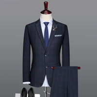 Nuevo Popular 2 Unidades de Los Hombres Trajes de Ropa de Estilo de Inglaterra de Los Hombres de Negocios Traje Chaqueta Terno Masculinos (Jacket + pants) Trajes de padrino de boda