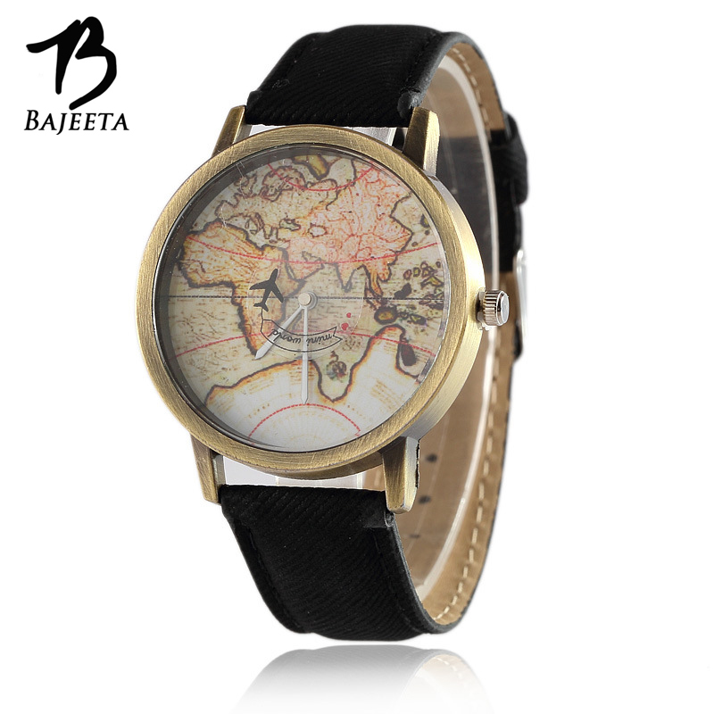 BAJEETA Casual Vintage Leather Women Watch Fashion Sport Quartz Men Watches Female World Map Aircraft Wristwatch Hot Sale Clock miler vintage fashion watch women retro leather strap world map casual quartz wristwatch ladies creative clock relogio feminino