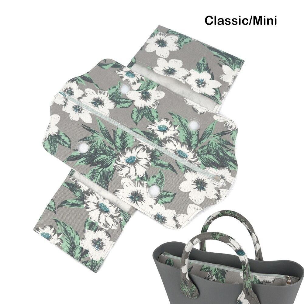 2018 Classic Mini Tecido de Lona Rua Zip Top Falso Inserção Revestimento Interno para O Saco Obag Mini Padrão das Mulheres bolsa Acessório