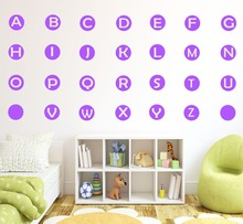 Removable 26-letter alphabet circular wall stickers nursery kids art decals vinyl childrens room painting F-88