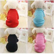 2017 Pet dog cat Fashion Pet supplies small dog chibuahua hoody clothes with velvet sweater solid long-sleeved soft clothes