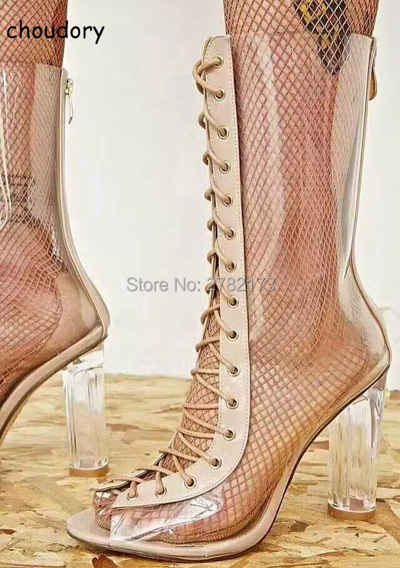 Open Toe Lace Up Women Chunky Heels Clear PVC Mid-calf Boots Gladiator Style Woman Cut-outs Short Boots High Heels Pumps Shoes new arrival knee high boots cross strap cut outs gladiator sandal boots suede open toe lace up sandals summer women flat shoes