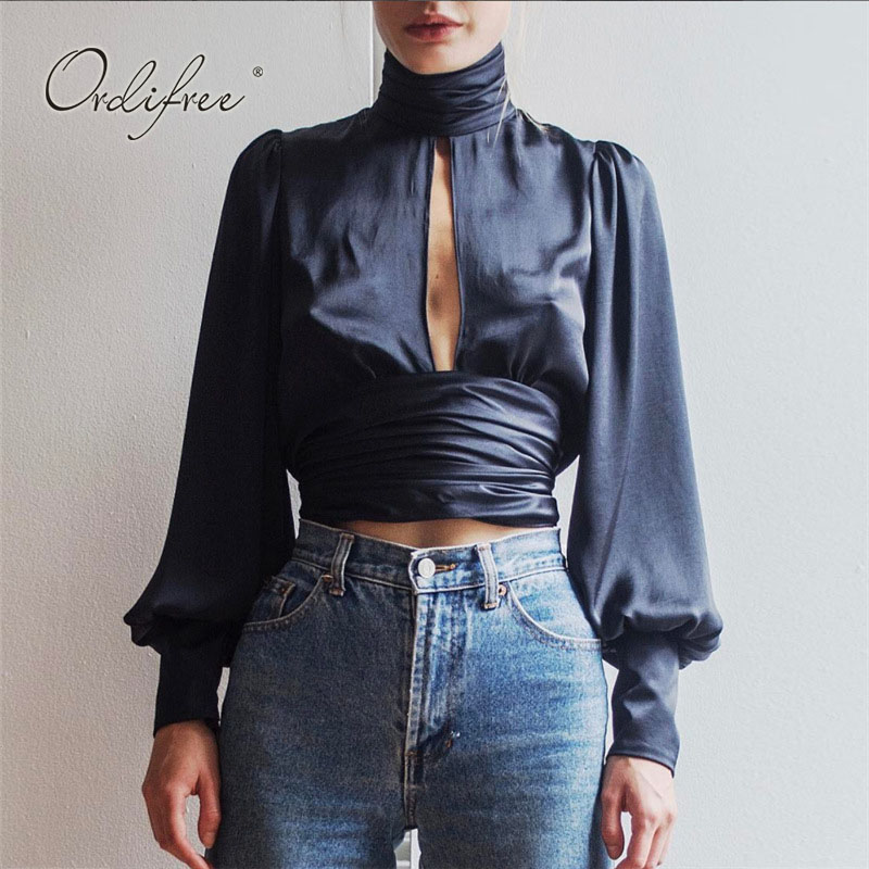 Ordifree 2019 Summer Women Silk   Blouse     Shirt   Blusas Long Sleeve Lace Up Sexy Crop Top Turtleneck Backless Short Satin   Blouse