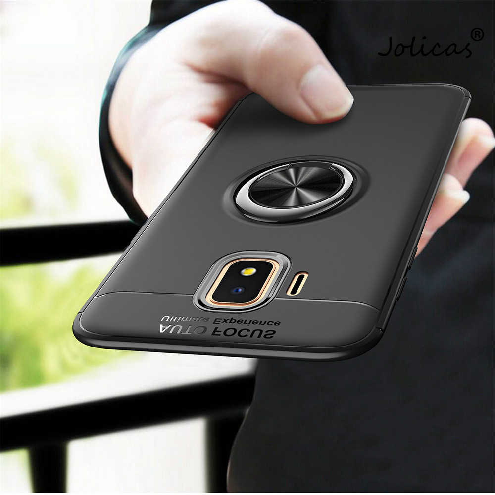 For Samsung Galaxy J2 Core Case Colorful Metal Magnetic Ring Holder Soft Silicone TPU Luxury Cover for Samsung Galaxy J2 Core