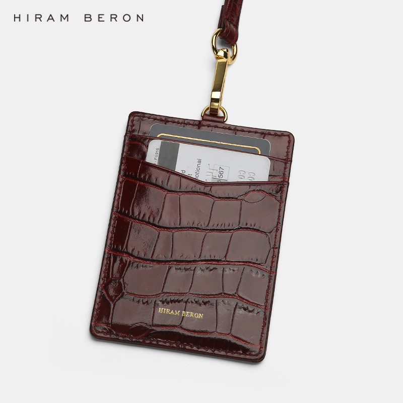 Hiram Beron Custom Name Service Name Tag Work ID Badge Holder Italian Leather With Lanyard Business Style