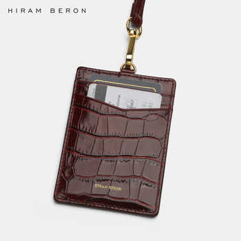 Hiram Beron Custom Name Service Name Tag work card ID holders Italian leather with lanyard Business Style - Category 🛒 All Category