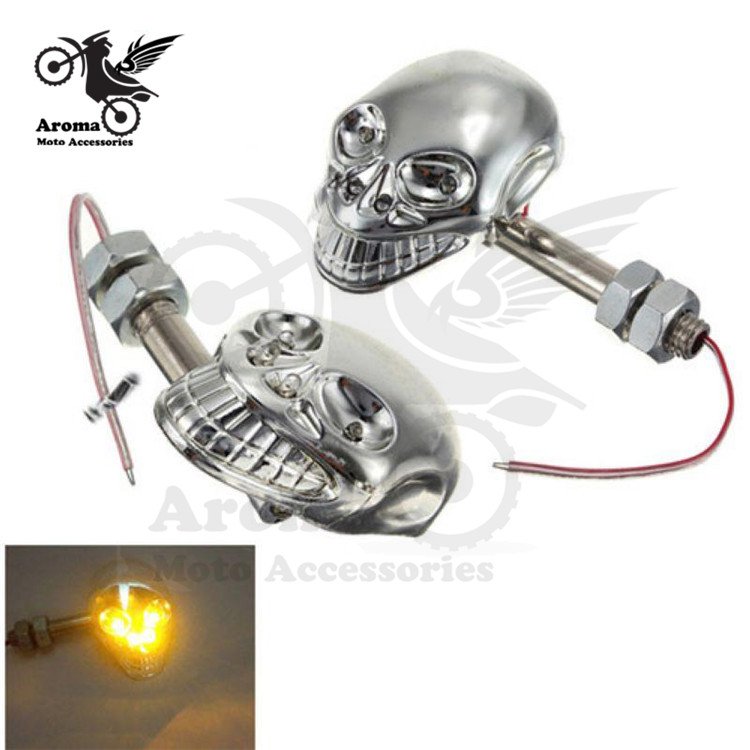 personality skeleton bones decal scooter indicator amber blinker lamp motorbike flashers light motorcycle turn signal moto LED
