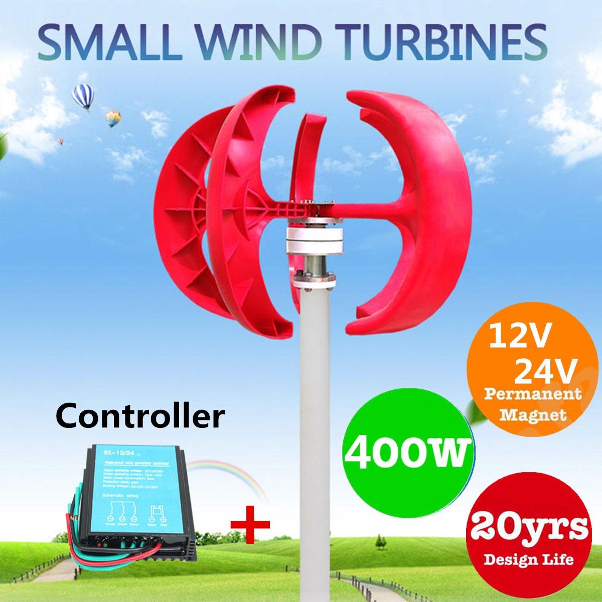 12V/24V 400W Lanterns Wind Power Generator Turbine 5 Blades Permanent Magnet Generator + 600W Wind Turbine Generator Controller