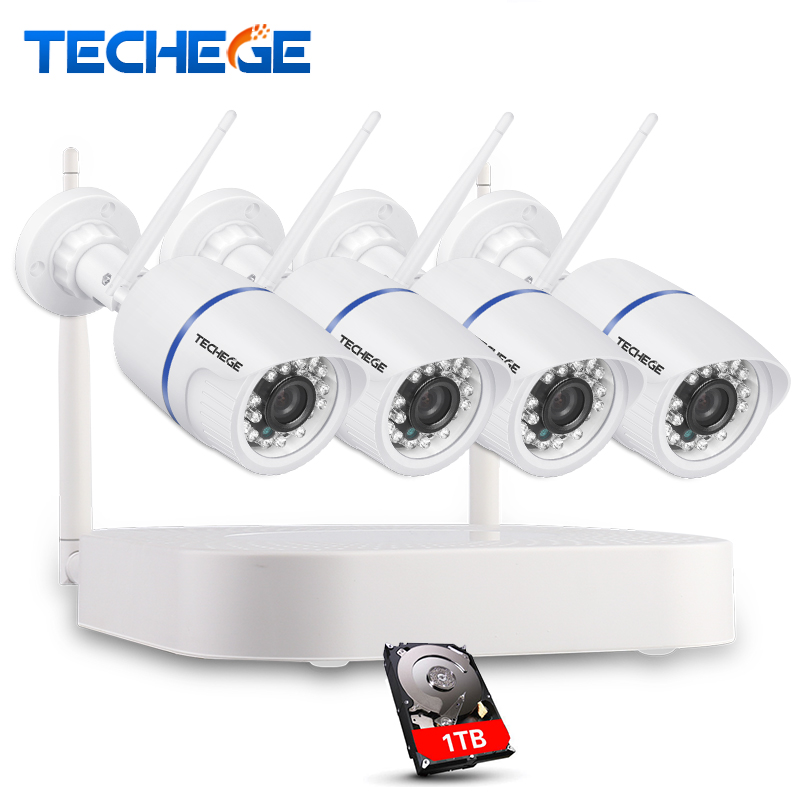Techege 4CH CCTV System Wireless NVR Kit P2P 720P HD Outdoor Night Vision Security 1 0MP