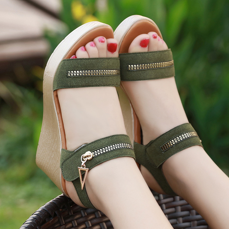 8cm Open Toe Cow Suede Wedges Shoes for Women Summer 2018 Casual Platform Sandals Woman Beach Sandal Big Size 41 42 43 32 43 big size summer woman platform sandals fashion women soft leather casual silver gold gladiator wedges women shoes h19