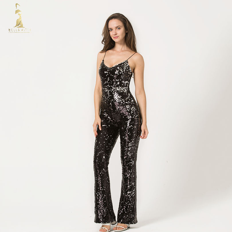 Black Sequins Suspender Jumpsuits For Women Sleeveless Casual Female Sexy Clubwear Playsuit V Neck Long Pant Romper Overalls