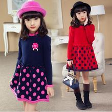 2016 Girl Autumn and Winter Pink Red Dot Dress Children Fashion Princess Dress