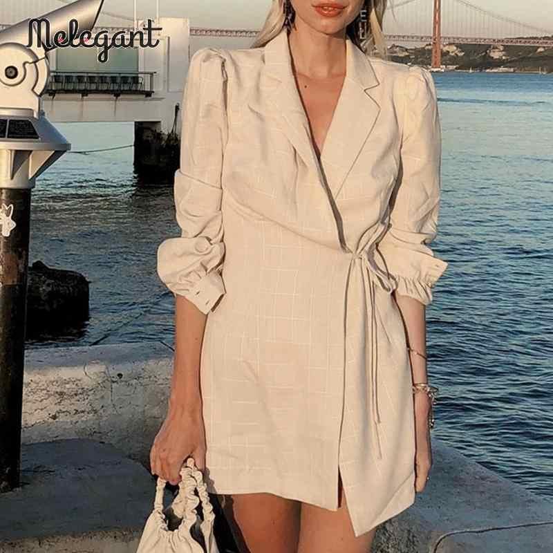 Conmoto, женское модное клетчатое короткое платье, для женщин, 2019, Осень-зима, с запахом, на шнуровке, платье мини, Бизнес Стиль, длинный рукав, vestidos