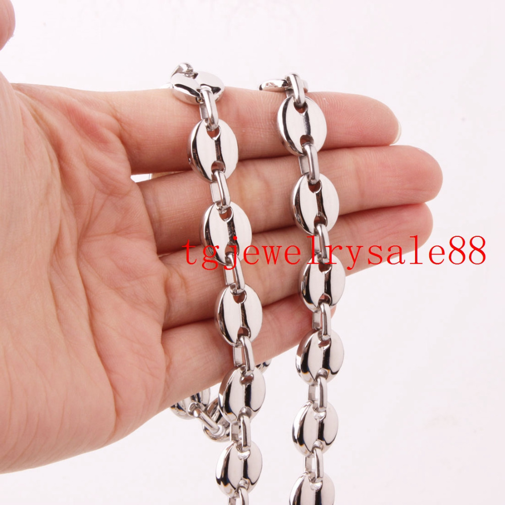 11mm Stainless Steel Coffee Beans Link Chain font b Bracelet b font Or Necklace font b