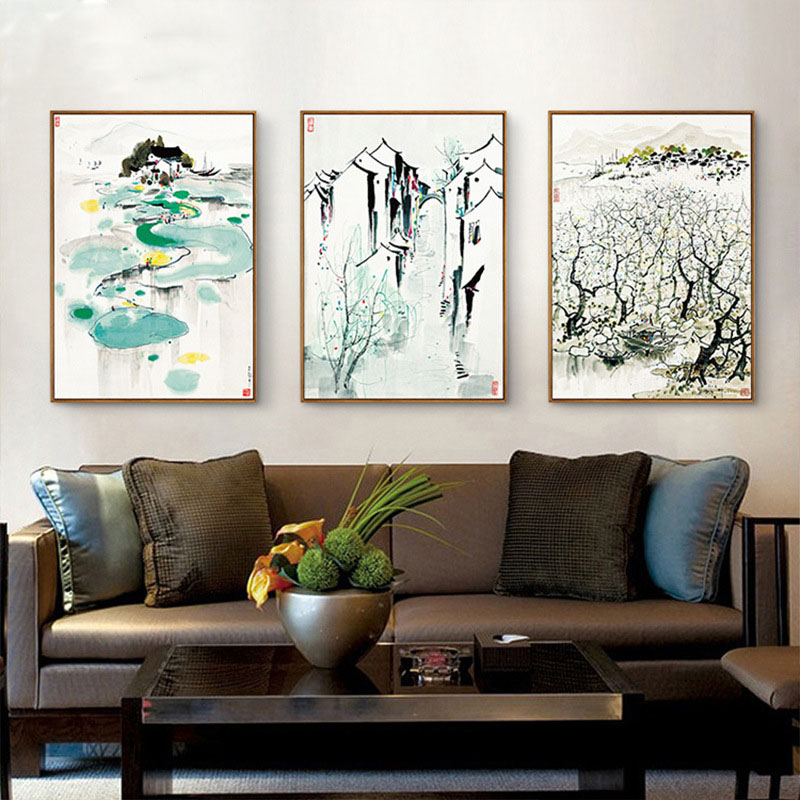 HAOCHU Nordic Canvas Painting New Chinese Decorative Painting Modern Poeters Wu Guanzhong Yangtze River Delta Painting ...