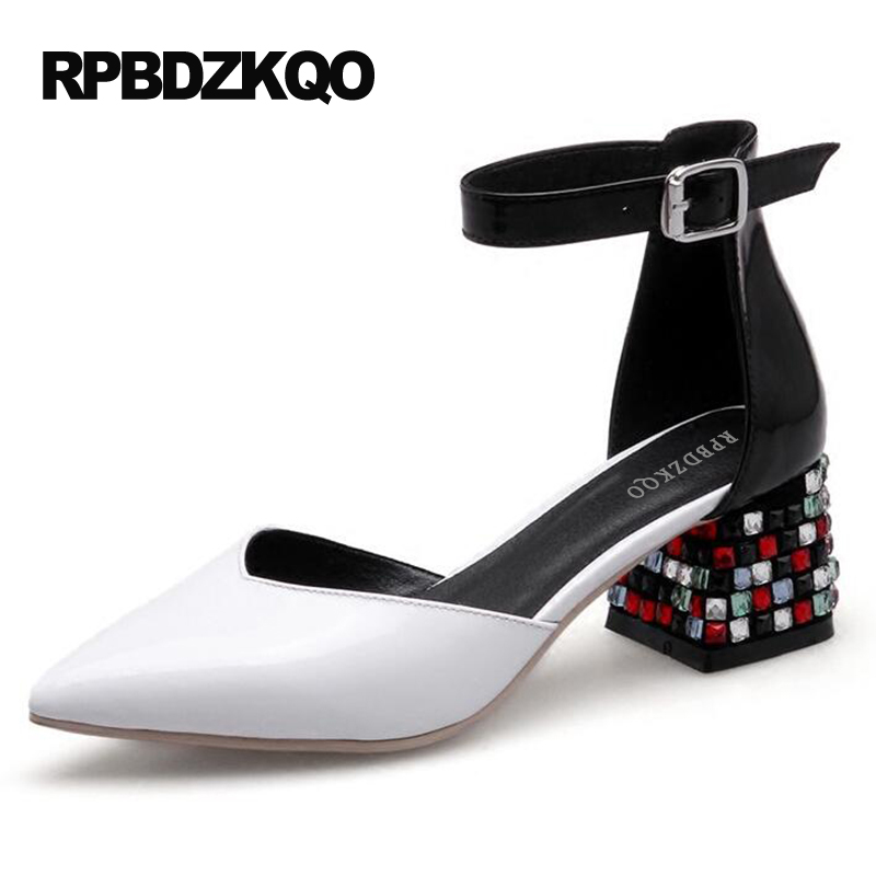 Small Size Crystal 2017 Women Pumps Rhinestone Novelty Diamond Pointed Toe White Ankle Strap 4 34 Sandals Shoes Thick High Heels цена