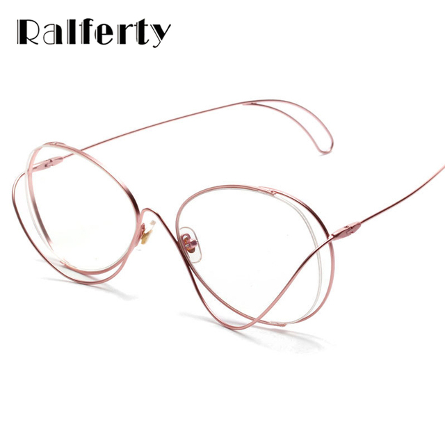 Ralferty Unique Designer Glasses Frames Women Irregular Pink Metal ...
