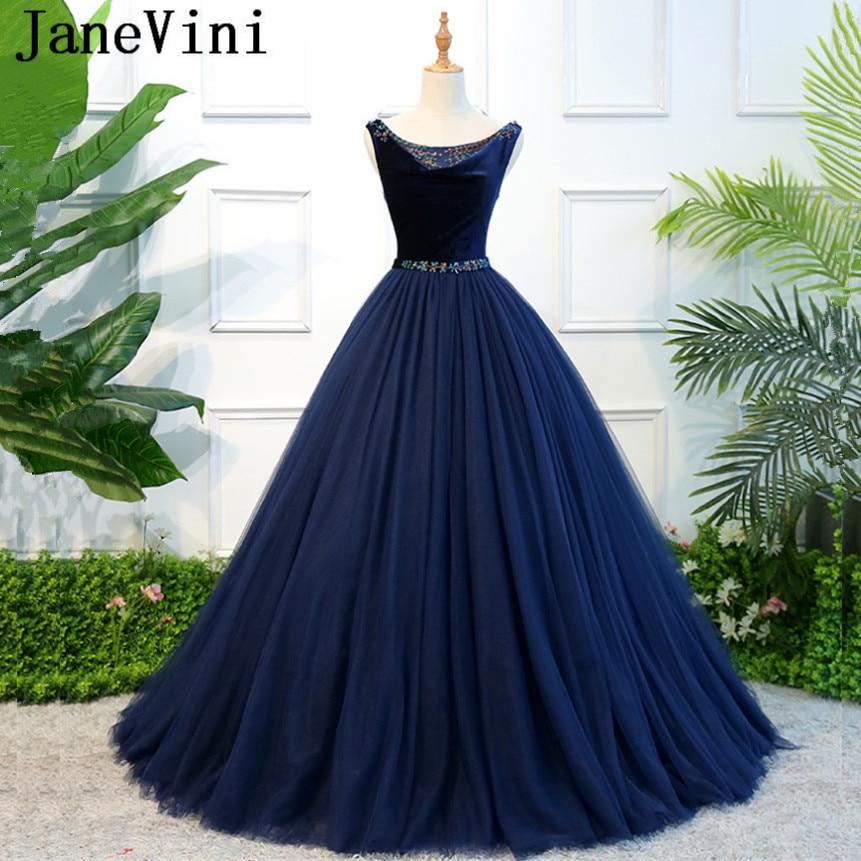 b796e697395dff7 JaneVini очаровательный темно-синий платья невесты бальное платье Scoop шеи  блестками из бисера Тюль Длина