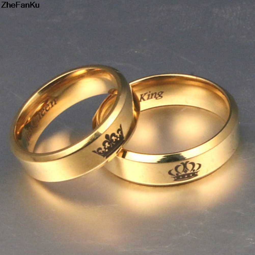 Couple Rings His Queen Her King Engagement Rings Simple Stainless Steel Gold Ring For Men Womens Fashion Dating Jewelry Gold Ring Engagement Ringfashion Engagement Ring Aliexpress