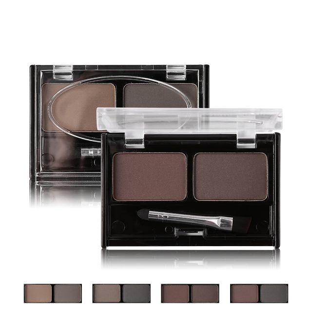 Mother Home Eyeshadow Cake Makeup 2 Color Waterproof Eyebrow Powder Eye Shadow Eye Brow Palette + Brush Eyebrow Enhancer 4