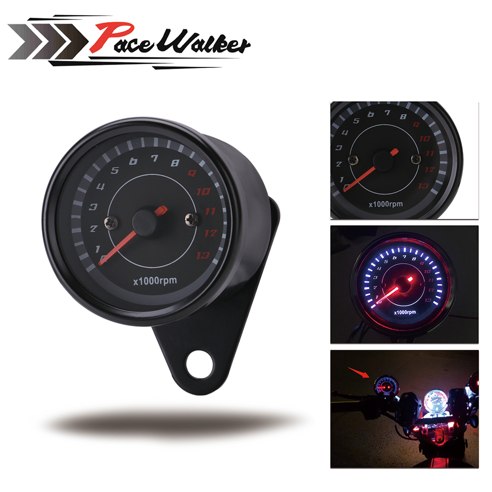 Universal 12V Motorcycle Tachometer Tacho Gauge Speedometer With LED Backlight Night Light Motor Bike Moto Instrument Accessorie