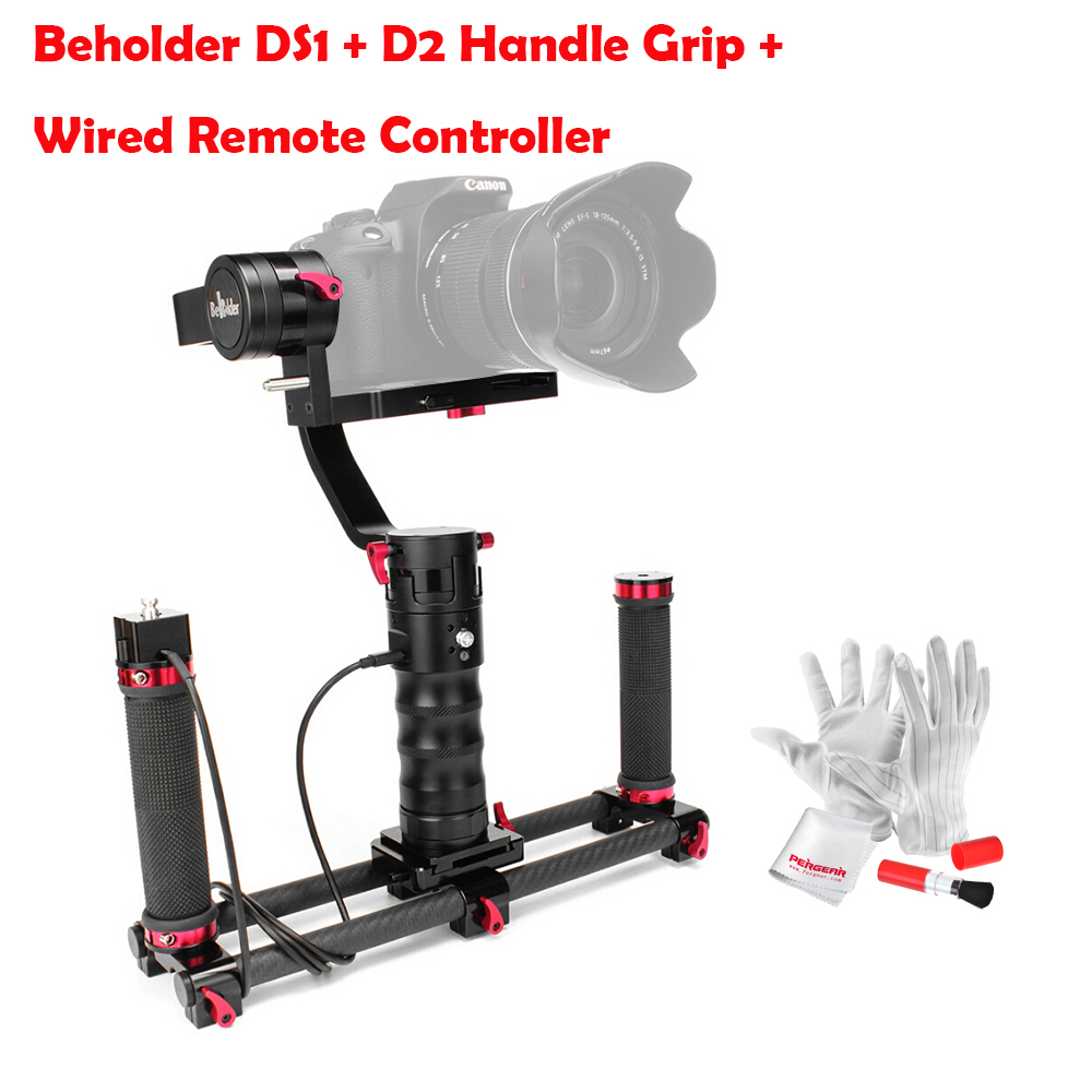 Beholder DS1 3 Axis Brushless Handheld Gimbal Stabilizer 32-bit Controller with Dual IMU Sensors+D2 Handle Grip+Cable for DSLRs beholder d2 carbon fiber dual handle grip with arch rectangular plate and pergear magic stickers for beholder ds1 ms1 stabilizer