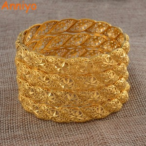 Image 2 - Anniyo 4 יח\חבילה, האתיופית זהב צבע חתונה צמיד לנשים דובאי הכלה צמיד אפריקאי תכשיטי מזרח התיכון פריטים #088206