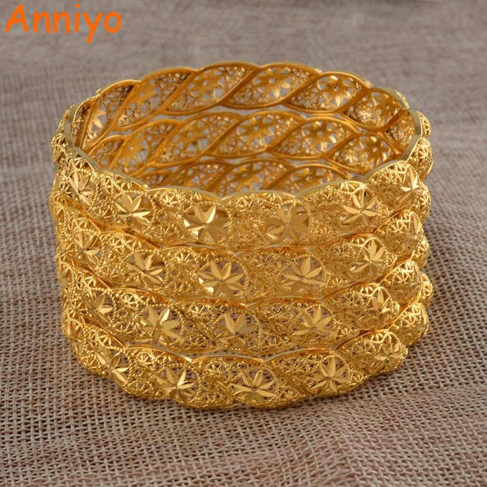 Detail Feedback Questions About Anniyo 4pieces Lot Ethiopian Gold Color Wedding Bangle For Women Dubai Bride Bracelet African Jewelry Middle East Items
