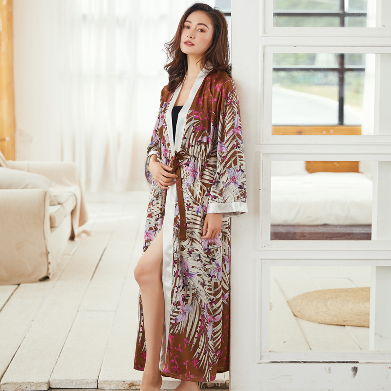 Novelty Sexy Lady Long Kimono Bath Satin Robe Gown Loose Chinese Sleepwear Night Dress Casual Rayon Nightgown Home Dressing