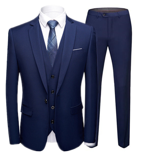 Boutique 3 Pieces Suit Sets / Male Solid Color Blazer Jacket Coat Vest Pants Trousers Waistcoat
