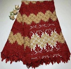 Image 3 - Tela de encaje africano para boda, encaje de alta calidad, 5 yardas, tela nigeriana para vestido, ZQ A55