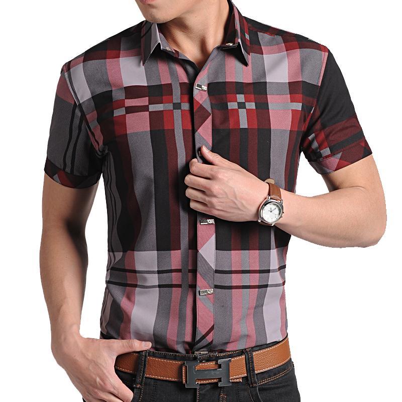 Hombres Camisa a cuadros 2015 nuevo corto Seeve a rayas