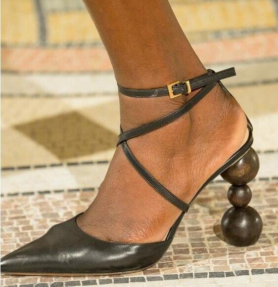 Прямая поставка; брендовые Женские однотонные пикантные вечерние туфли лодочки коричневого/черного/оранжевого цвета с перекрестными реме... - 2