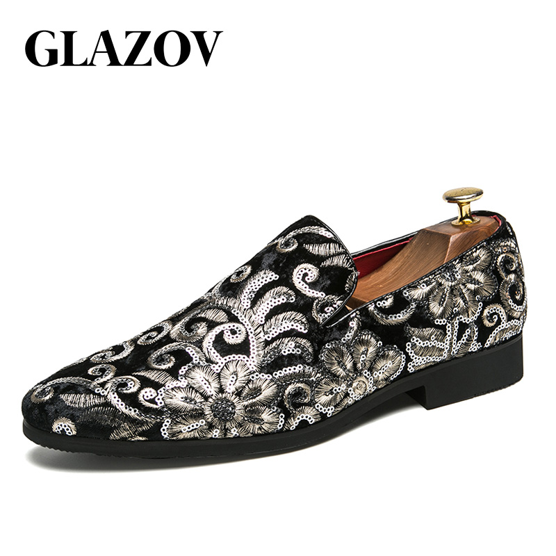 GLAZOV New Big Size 38-45 Casual Shoes Men Scrub Pointed   Leather   Shoes Fashion Tooling Business Leisure Nightclub Driving Shoes