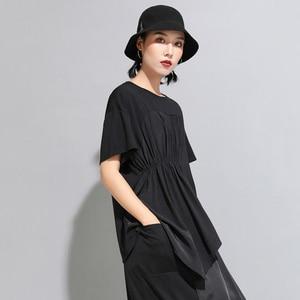 Image 5 - [EAM] 2020 New Spring Summer Round Neck Short Sleeve Black Pleated Split Joint Irregular Big Size T shirt Women Fashion JW596