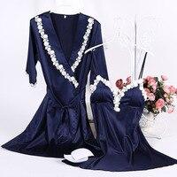 1957 النساء ثياب النوم الحرير الحرير ثوب الليل رداء مجموعات مثيرة الدانتيل البشكير رداء النوم النوم