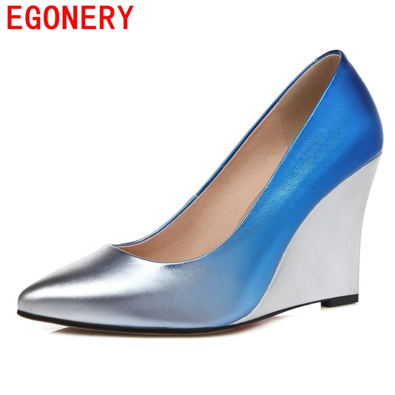EGONERY 2018 size 33-41 genuine leather pumps women shoes antumn elegant lady sexy party queen pointed toe wedges shallow shoes egonery shoes 2017 new arrival europe and america party pointed toe sexy ladie shoes elegant square high heels concise shallow
