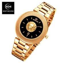 KEEP MOVING Men Watch Lion Head Sport Mens Watches Top Brand Luxury Waterproof Steel Quartz Gold Clock Relogio Masculino