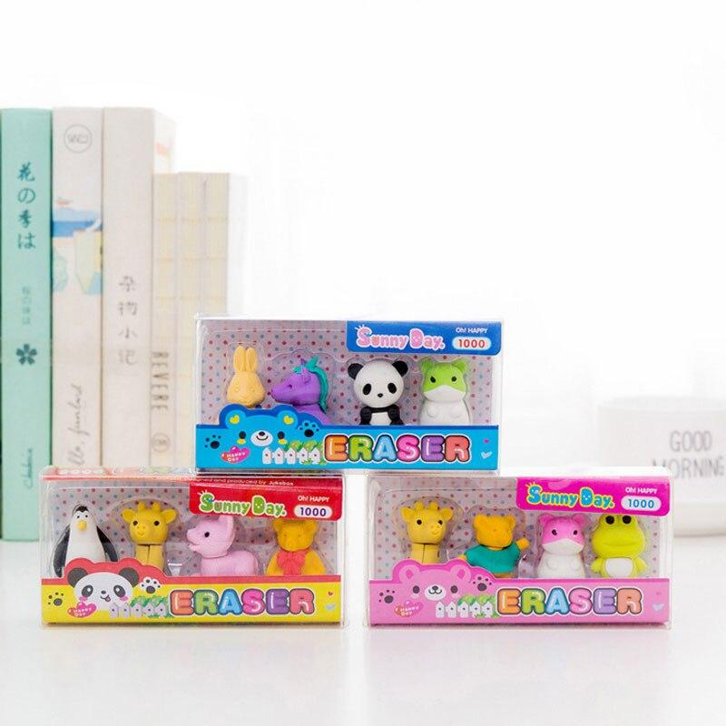 4 Pcs/lot Cartoon Panda Penguin Rabbit Bear Animal Eraser Set Pencil Rubber Eraser Kawaii Stationery School Supplies Kids Gifts