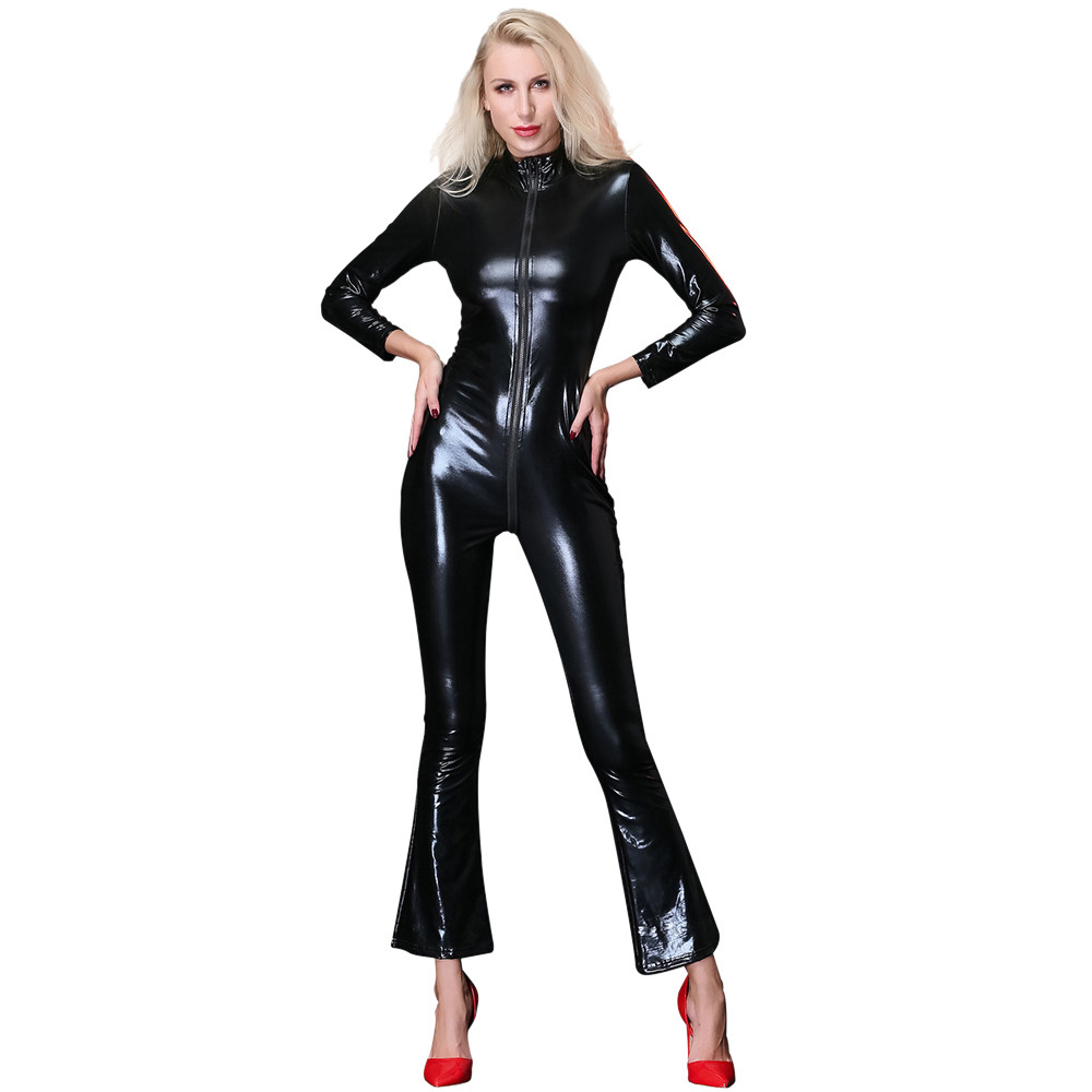 dc535d3624 Detail Feedback Questions about Women s Sexy Jumpsuit Leather Zipper Hollow Pajamas  Leather erotic sexy women s on Aliexpress.com