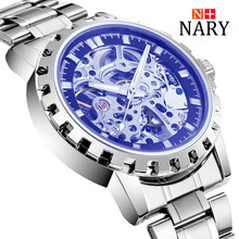 Nary Hollow Watches Men Fashion Business Leather Wristwatch Stainless Steel Waterproof Mechanical Hand Wind Watch Relogio