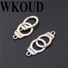WKOUD 10pcs Antique Sliver Metal Freedom Handcuffs Charm DIY Handmade Pendants Jewelry Findings